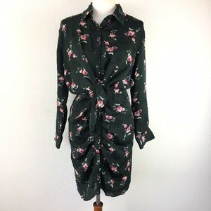 Everleigh Ruched Floral Shirt Dress Size Small